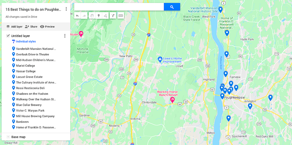 Map of the best things to do in Poughkeepsie NY