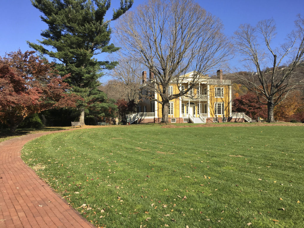 The historic, yellow Boscobel House and Museum in Garrison, NY which  contains an excellent collection of decorative arts