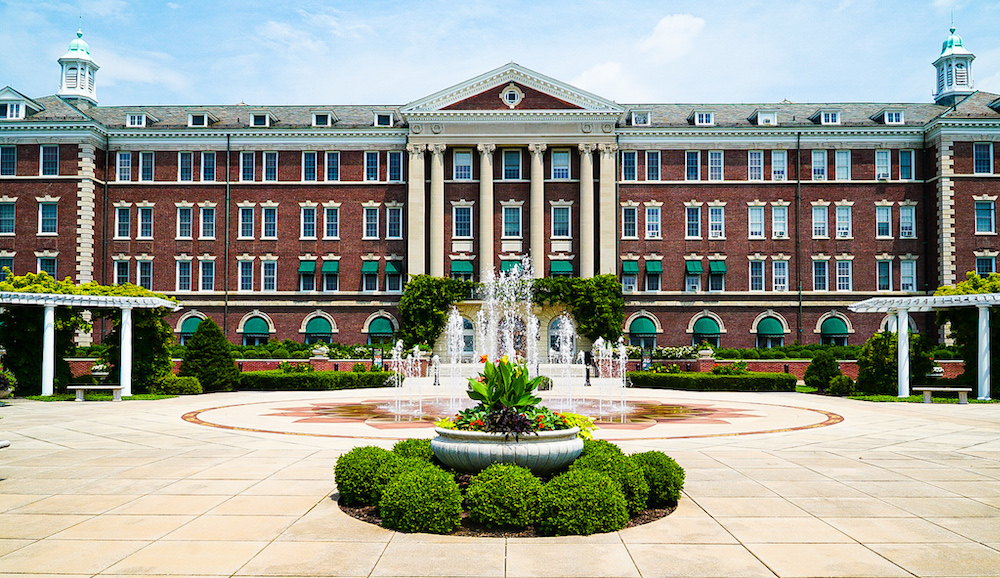 Exterior of the main building and courtyard surrounding the Culinary Institute of America
