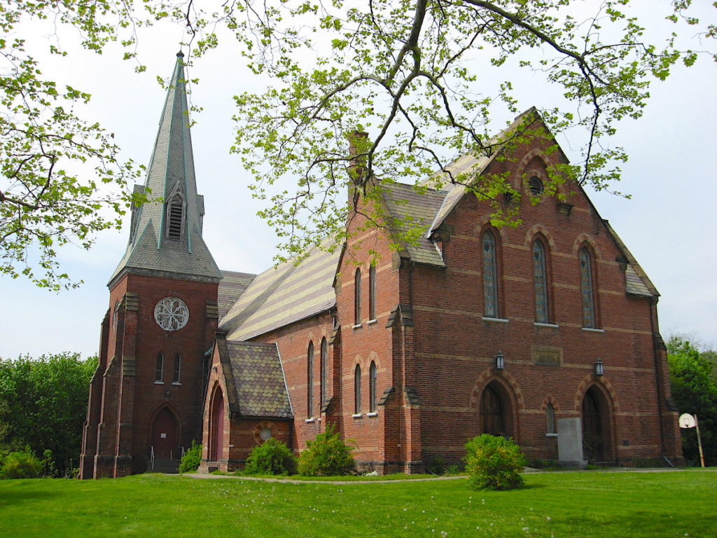 Brick exterior of the Dutch Reformed Church in Beacon, NY.