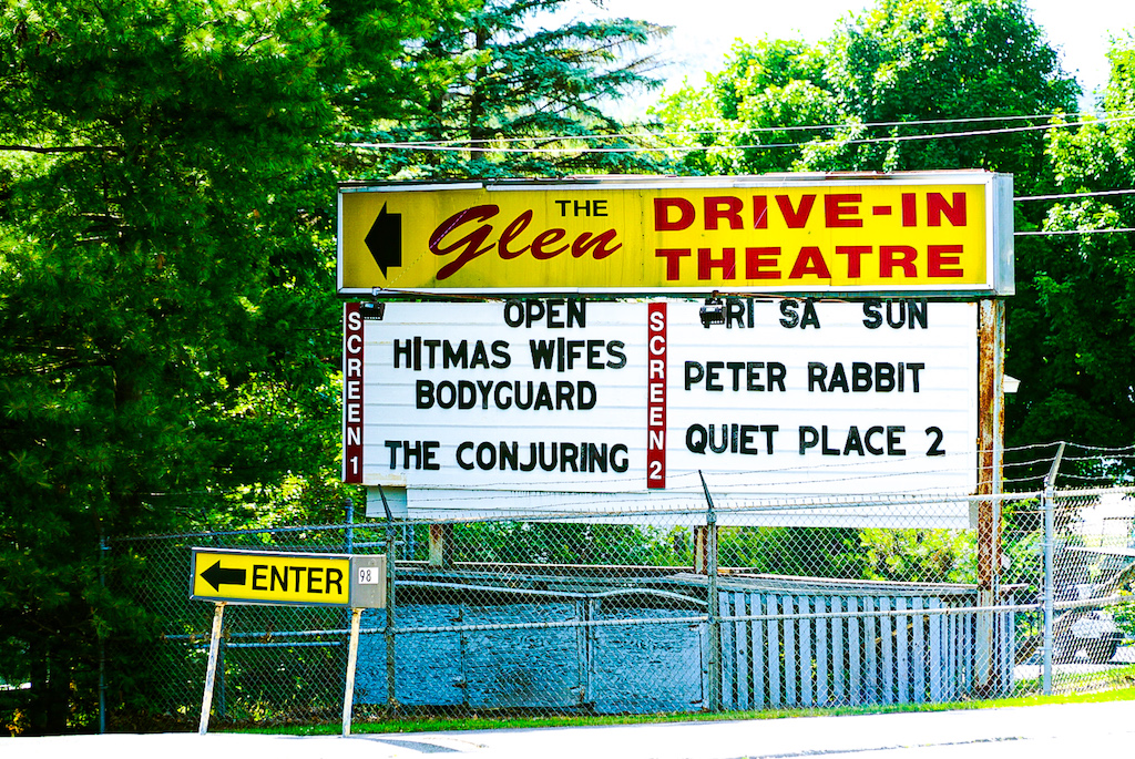 Sign in front of the Glen Drive in Theatre