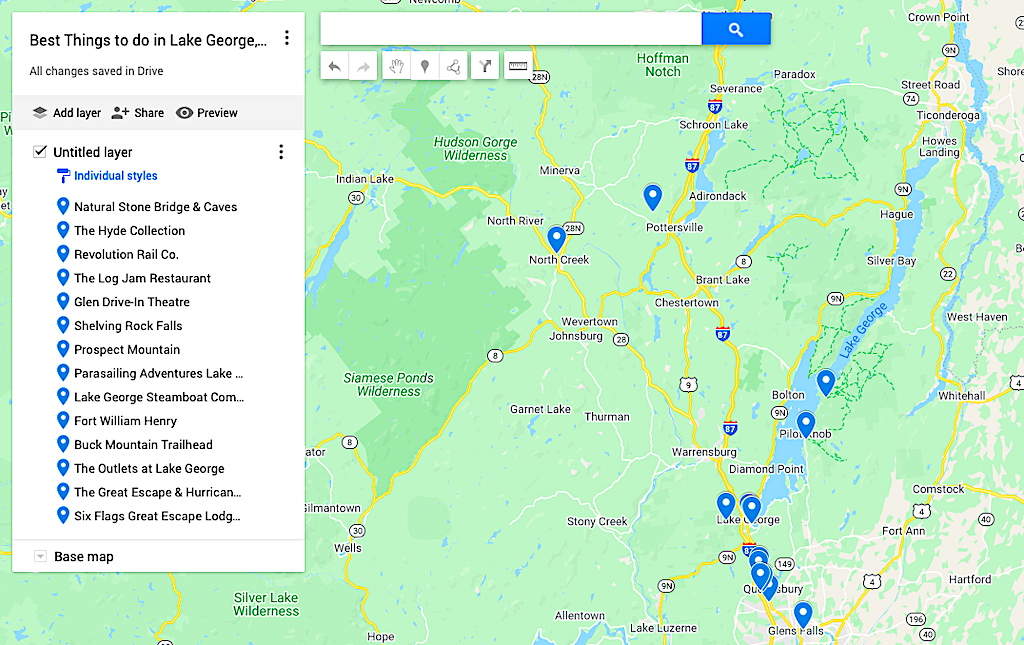 Map of the best things to do in Lake George NY