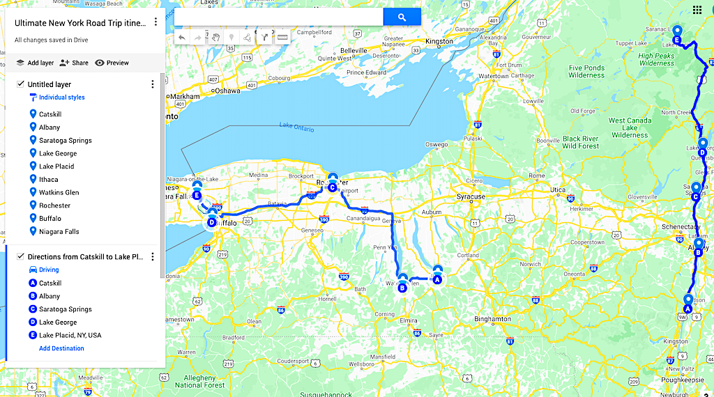 Map of the best New York Road trip itinerary and one of the best road trips from NYC.