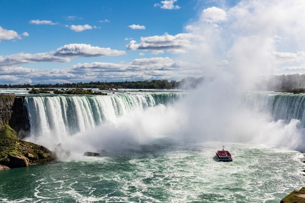 An aerial view of Niagara Falls and the Maid of the mist.