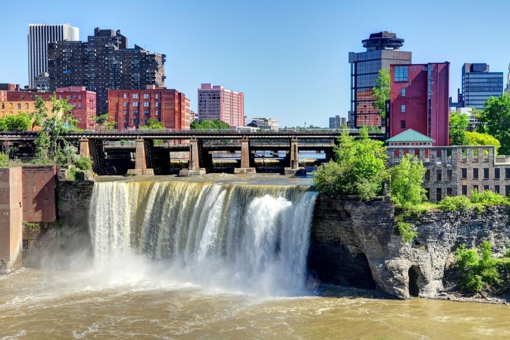 Giant waterfall in the center of Rochester, NY