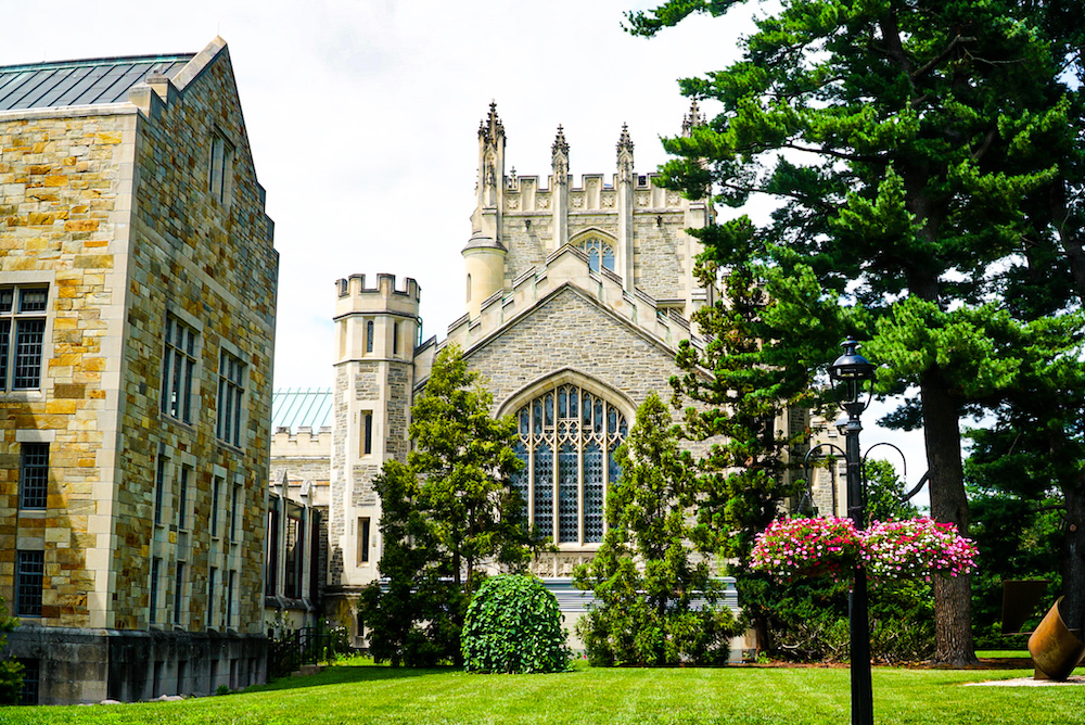 Some of the stunning stone buildings you'll find at Vassar College, one of the best things to do in Poughkeepsie NY.