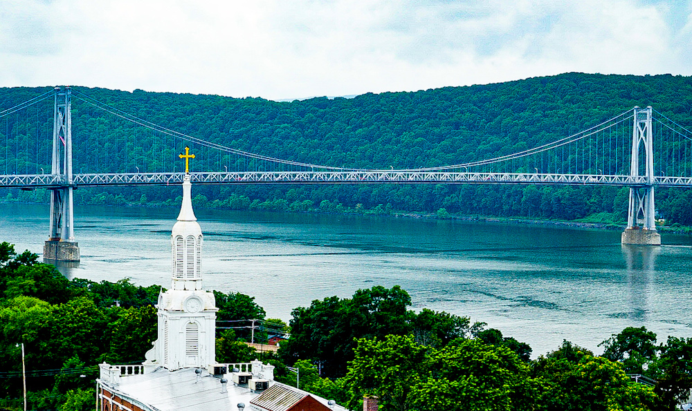 A view of the Mid-Hudson Bridge from the Walkway Over the Hudson, one of the best things to do in Poughkeepsie NY