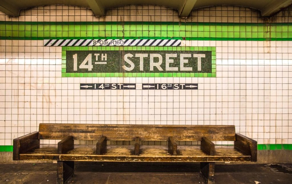 Sign for the 14th Street subway station in New York City.