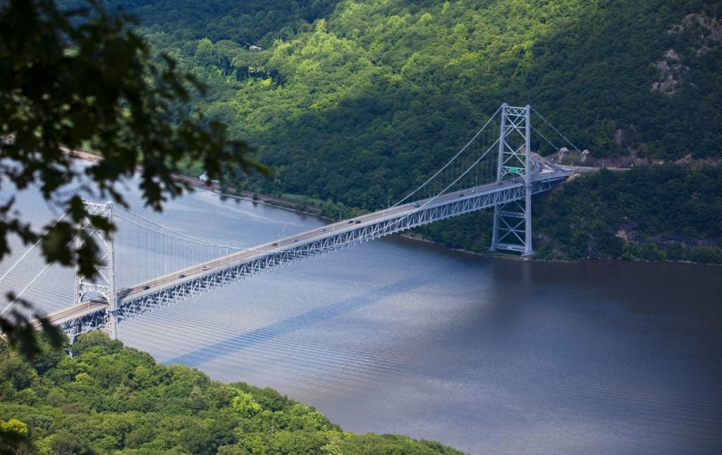 Aerial view of the Bear Mountain Bridge from Anthony's Nose