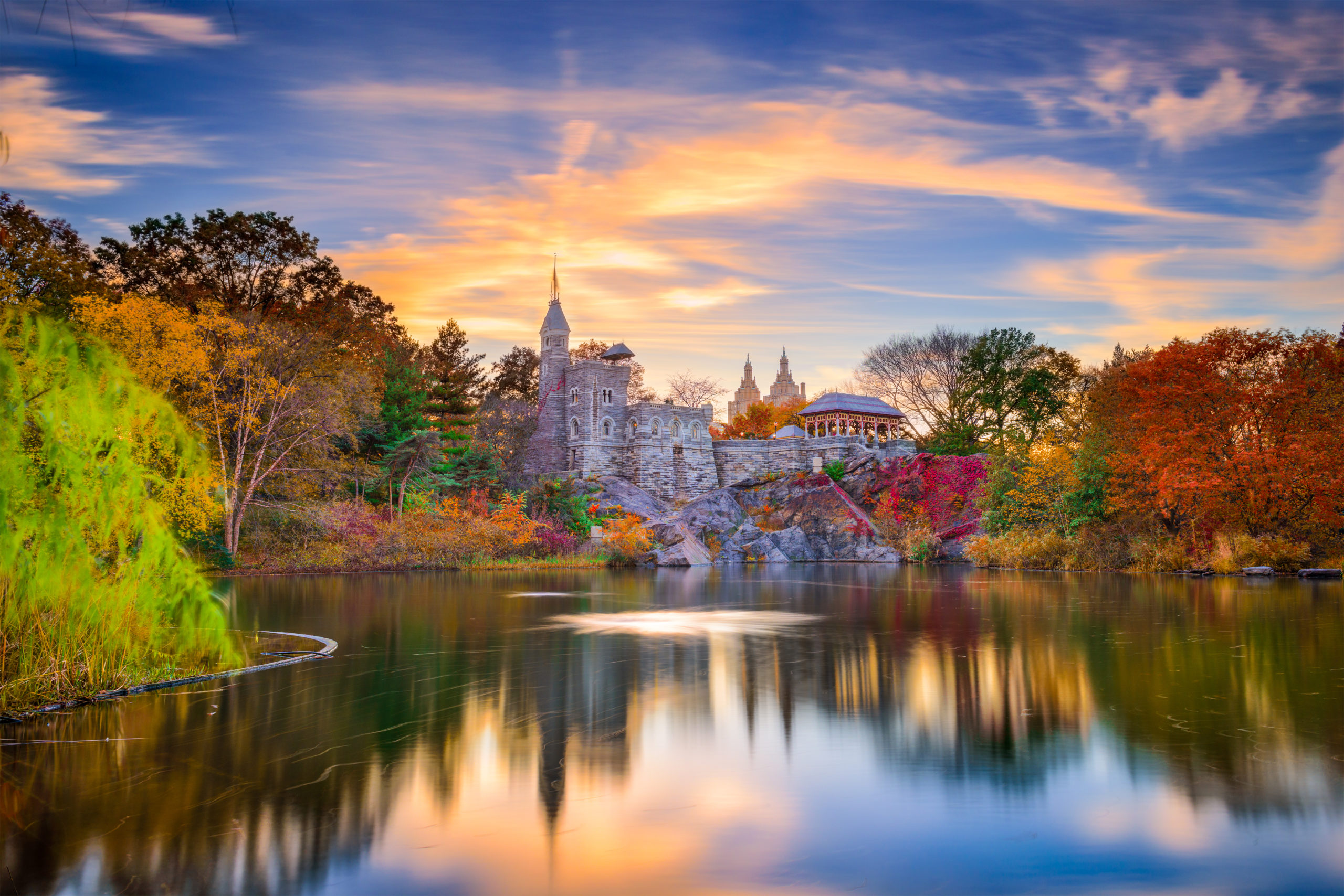 Belvedere Castle in the Fall in Central Park in New York City.