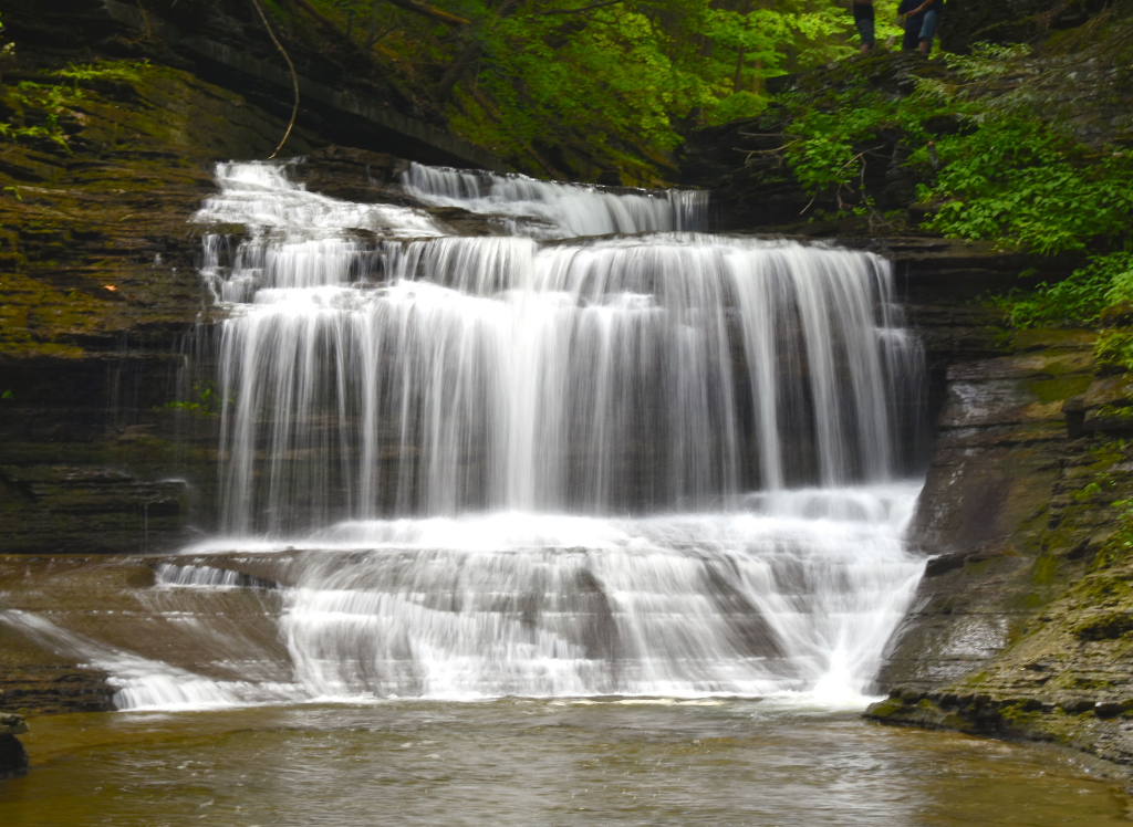 View of Buttermilk Falls in the spring near Ithaca.