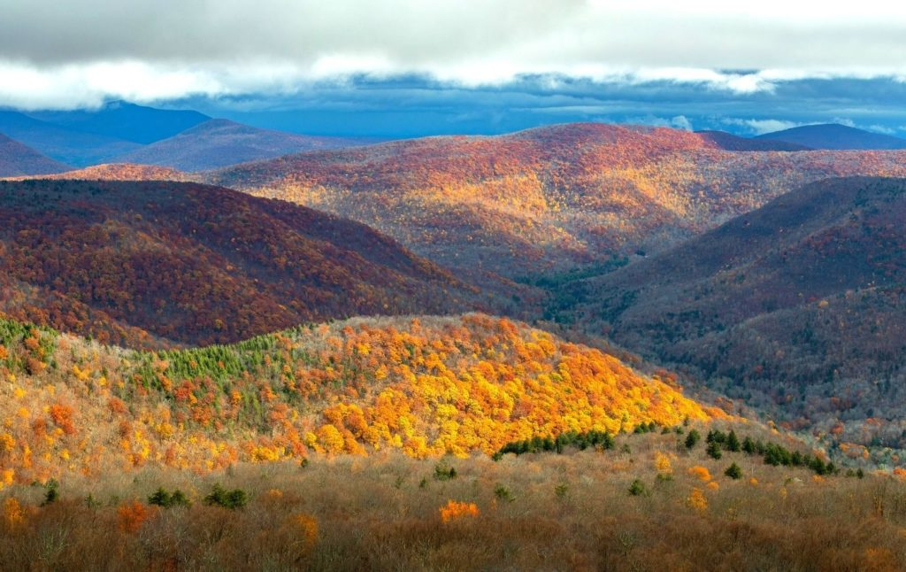 Panoramic view of vibrant fall foliage in the Catskills