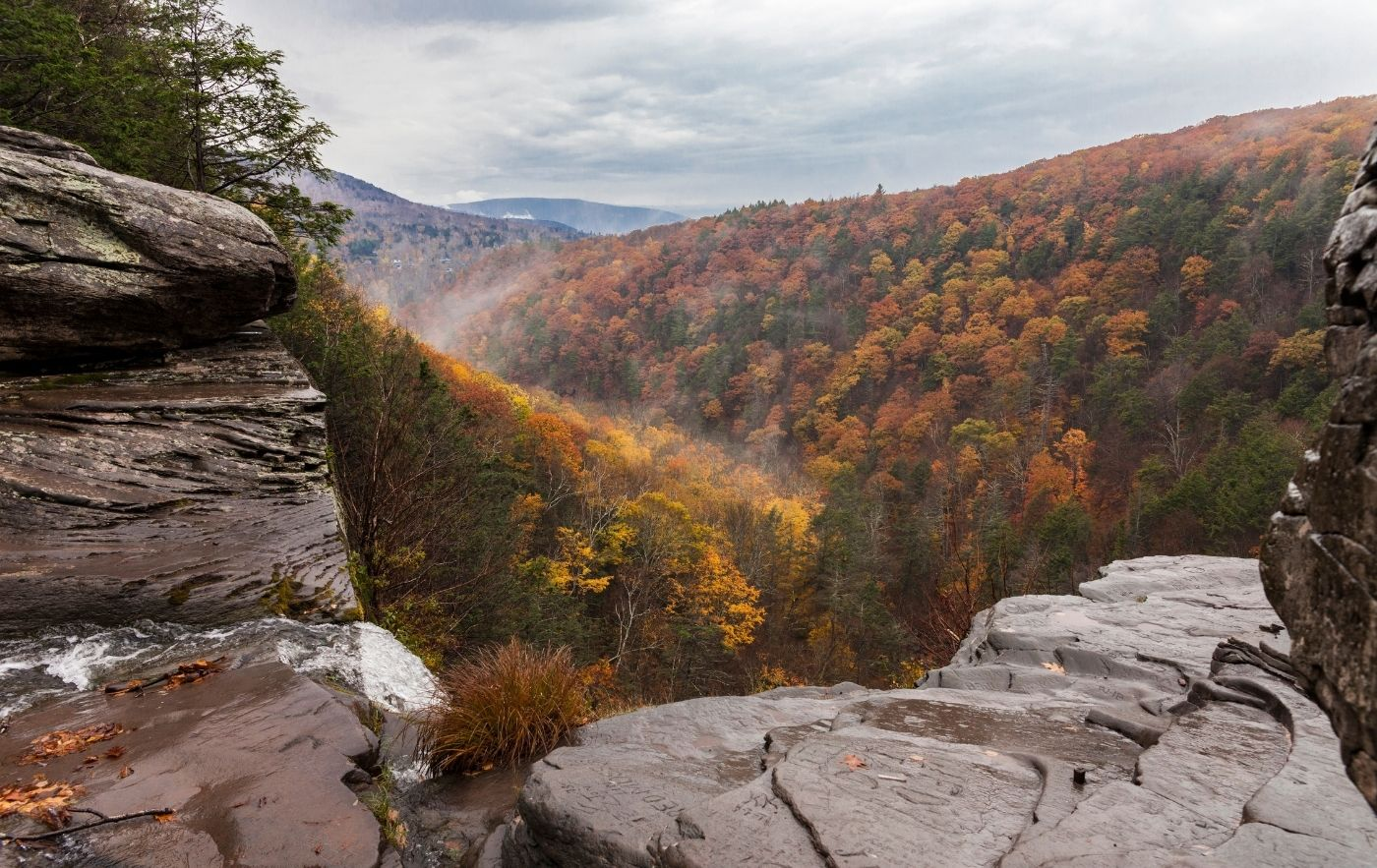 View of the Catskills through a mountain ledge in the fall.