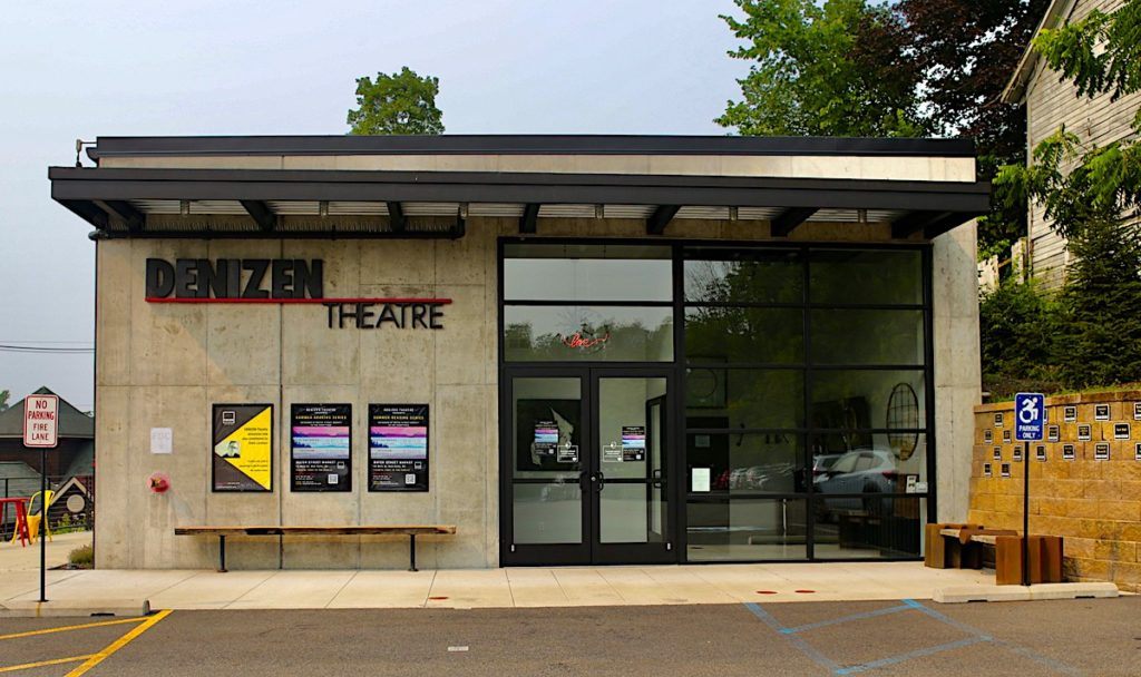 Concrete exterior of the Denizen Theatre, one of the best things to do in New Paltz, NY.