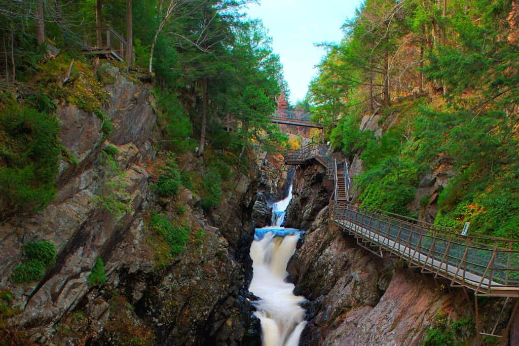 Elevated platforms along High Falls Gorge in the summer.