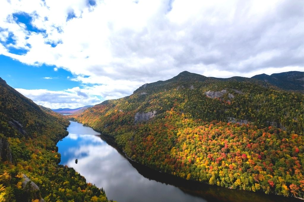 View from Indian Head Rock in the Adirondacks int he Fall.
