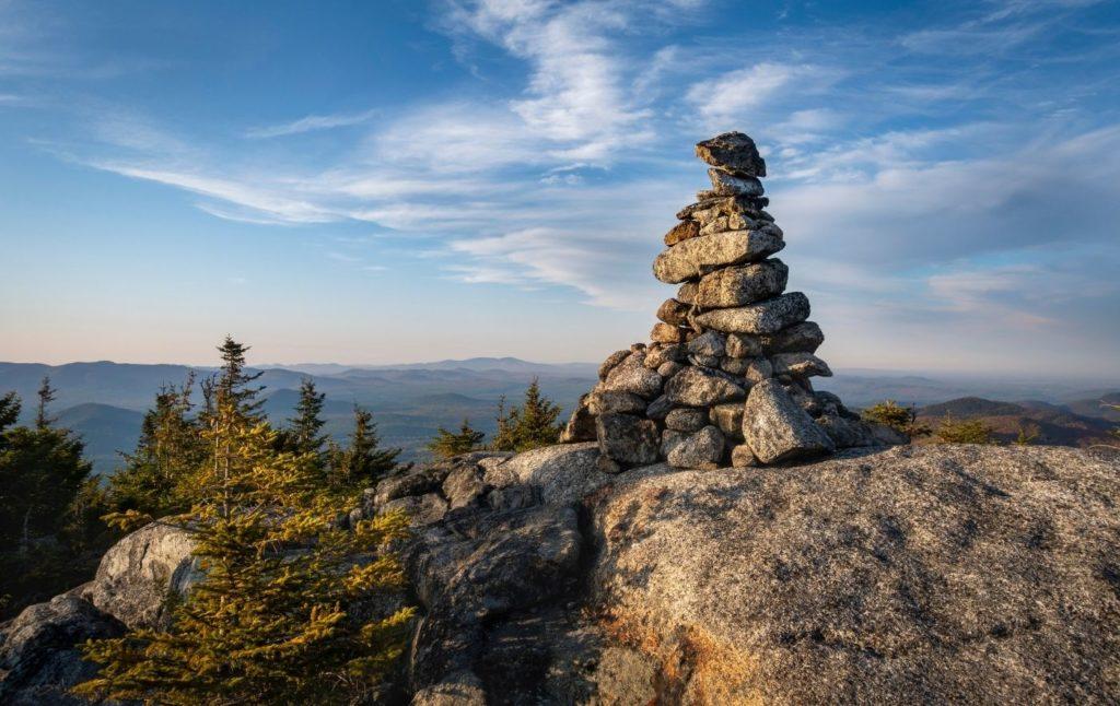 Rock cairn atop Jap Peak in the Adirondacks.