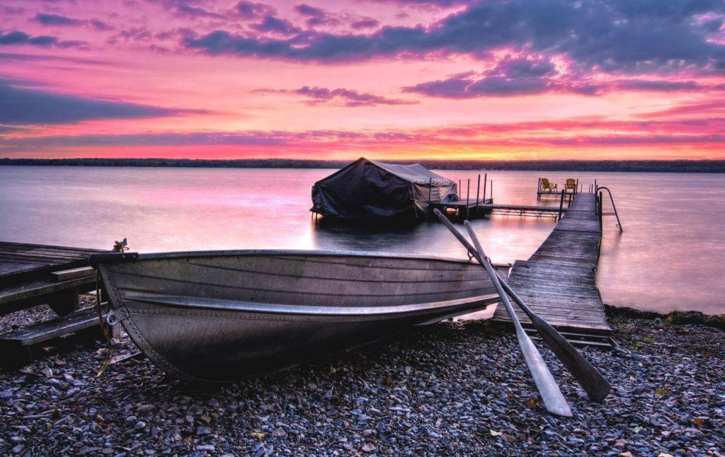 Sunrise at Lake Cayuga in New York.