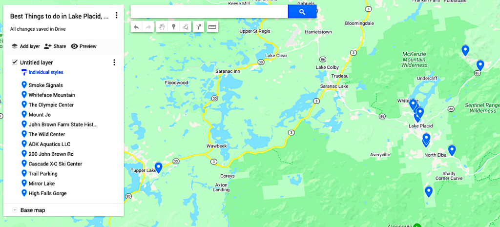 Map of the best things to do in Lake Placid NY