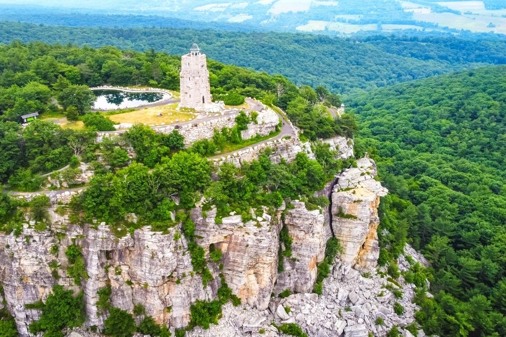 Aerial view of the Mohonk Preserves in New Paltz, NY.