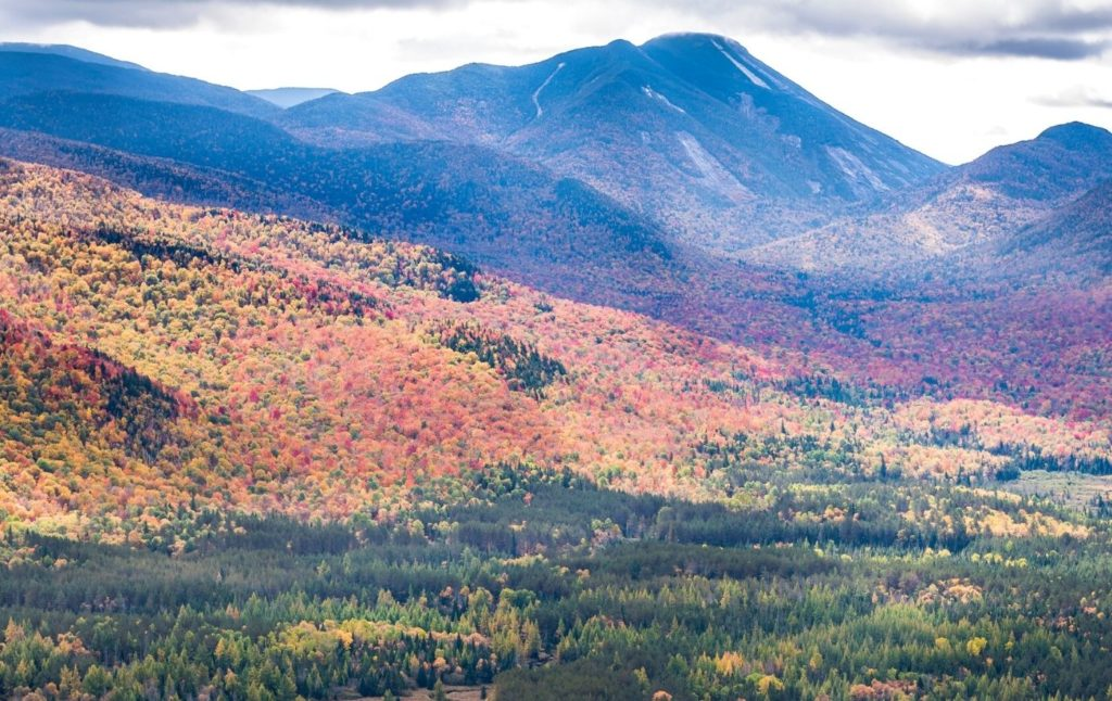 View of Mount Colden and the vibrant fall foliage in the Adirondacks.