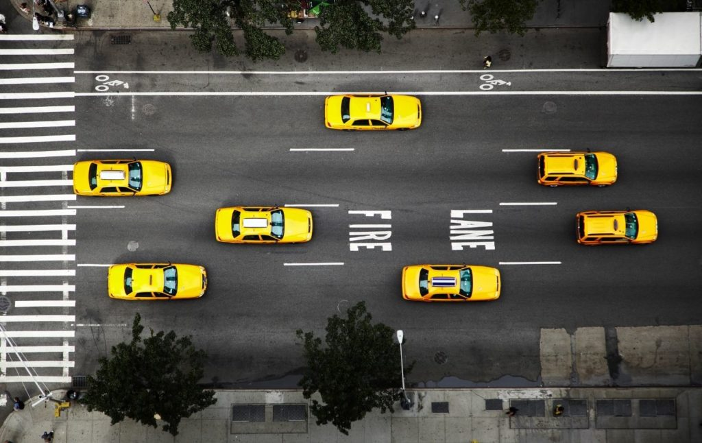 Aerial view of yellow cabs in New York City.