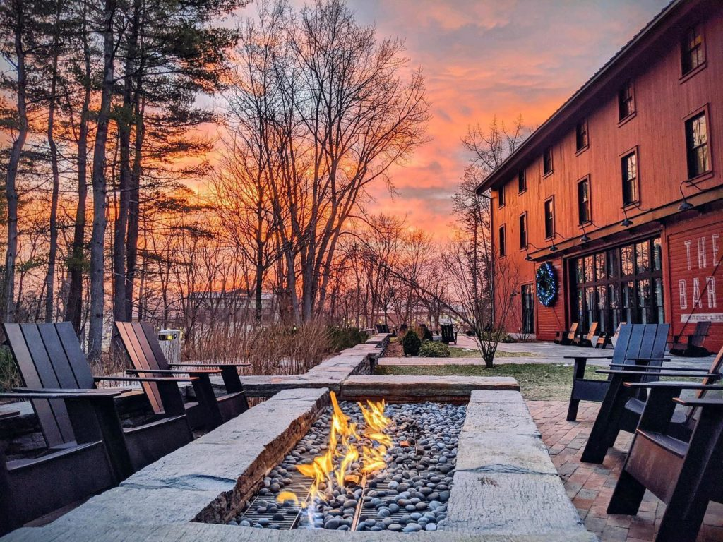 Sunrise and an outdoor fire at the Williams INn.