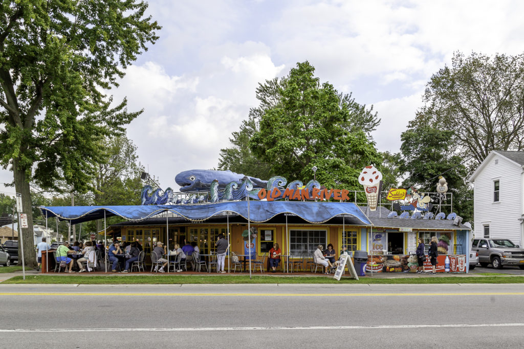 Old Man River Restaurant is a Riverside fixture known for its rooftop whale in Tonawanda, one of the best small towns in New York.