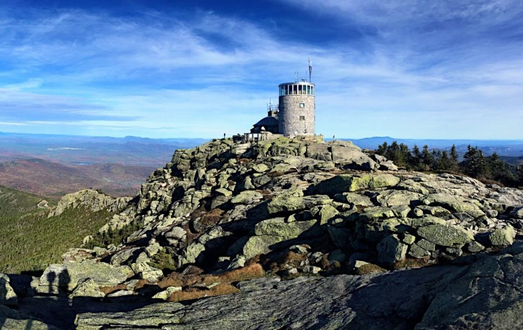 View of the weather station and castle at the top of Whiteface Mountain
