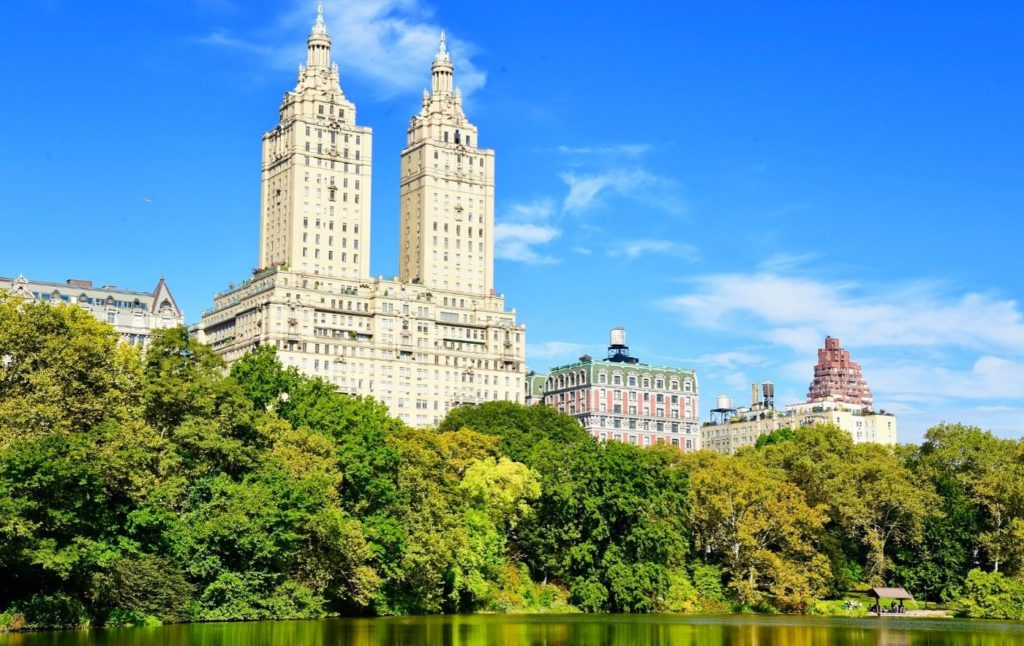 Upper East Side of New York City and buildings along Central Park.