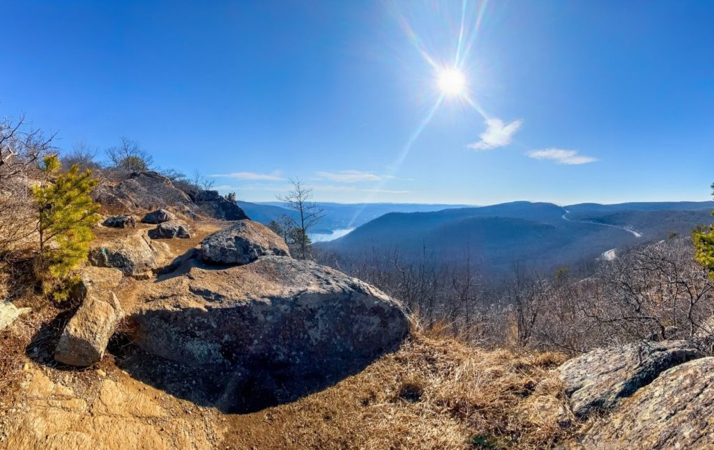 View of the Hudson River from Storm King Mountain.