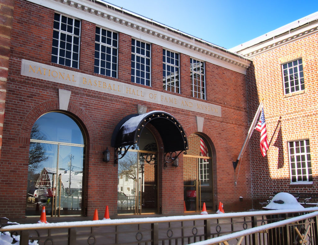 Brick facade of the National Baseball Hall of Fame, one of the best things to do in Cooperstown NY.