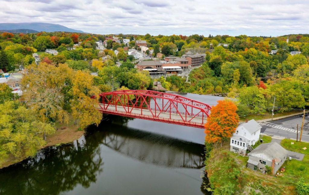 Red bridge spanning Esopus Creek near Woodstock NY.