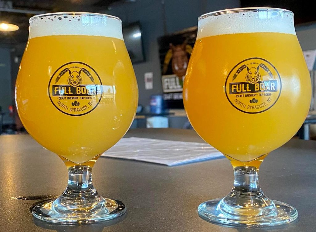 Two light beers from Full Boar Craft Brewery and tap room.