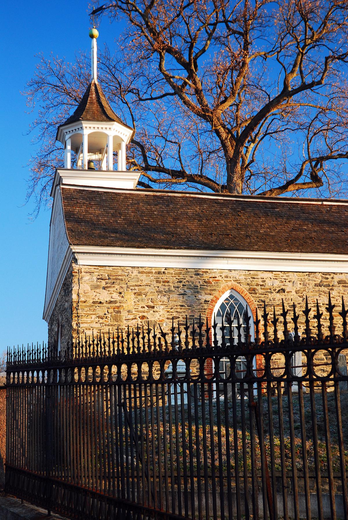 Stone exterior of the Old Dutch Church in Sleepy Hollow NY.