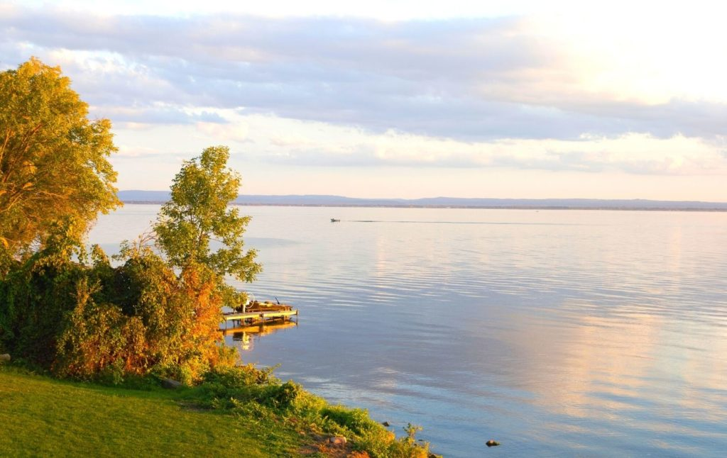 View of the dock and Oneida Lake.