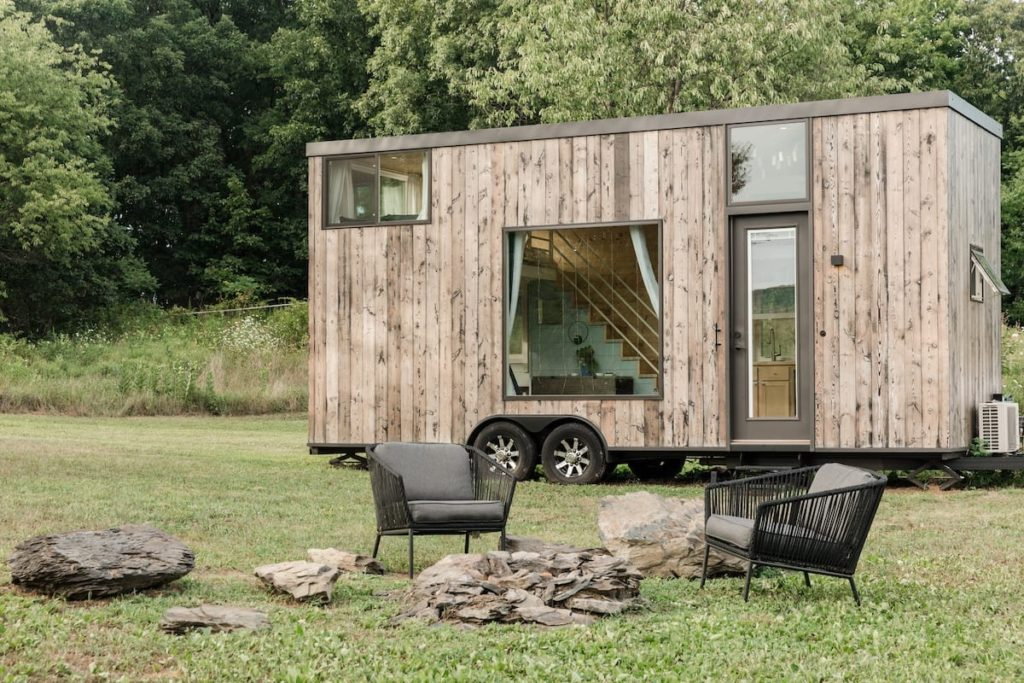 Light-filled wooden tiny house with orchard views and a fire pit near Marlboro. NY.