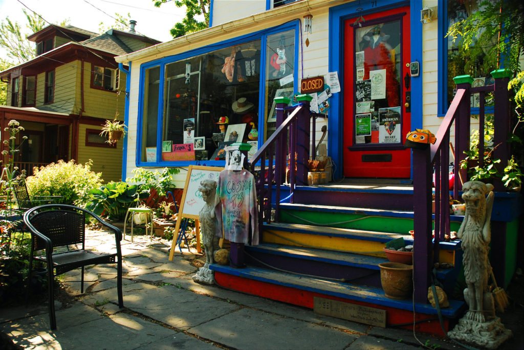 The exterior of a colorful vintage shop in downtown New York.