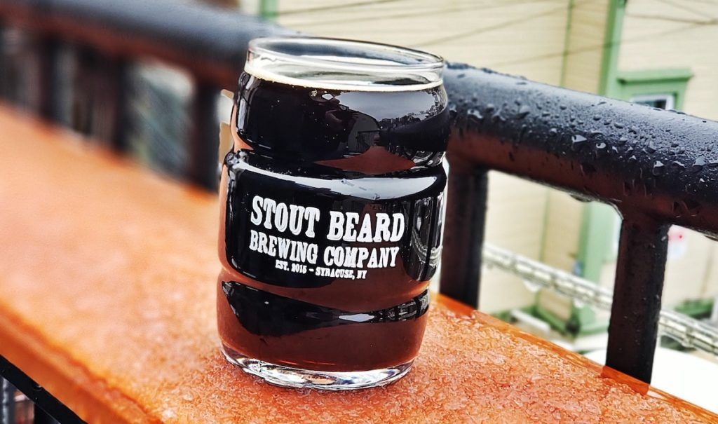 Dark beer in a glass from Stout Beard Brewing Company.