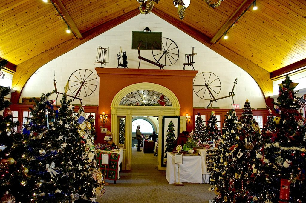 Interior of the Tioga Downs Historical Society which is outfitted with Christmas decor.