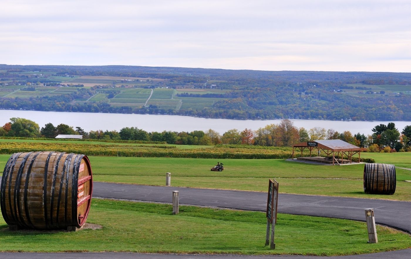 Wine vineyard overlooking a lake in the Finger Lakes region of New York.