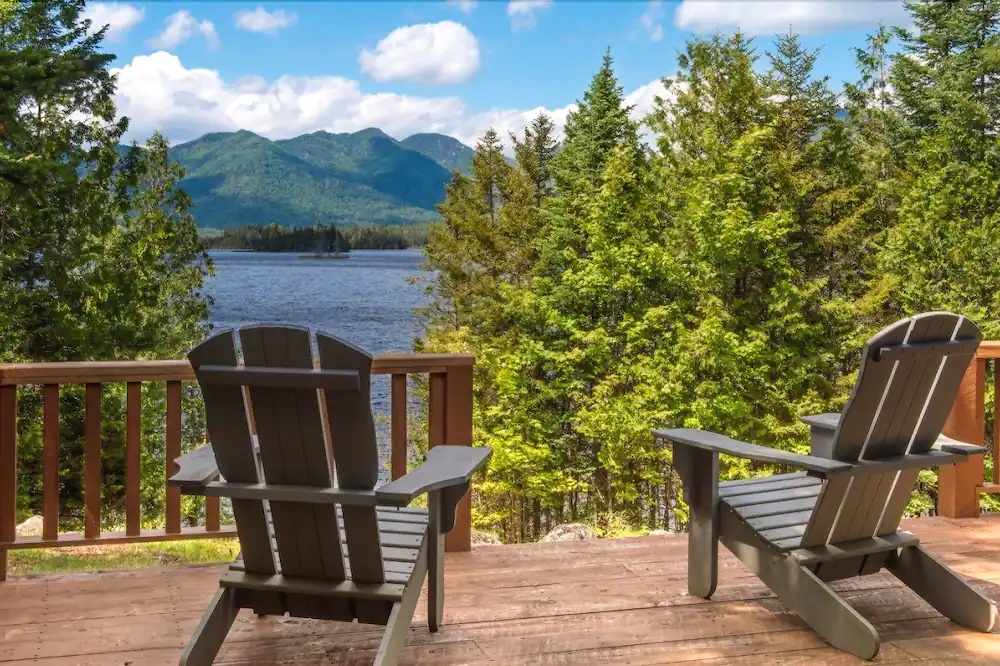 Beautiful view of the lake from the porch of Elk Lake Lodge in North Hudson.