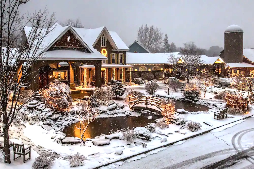 Emerson Resort and Spa covered in snow.