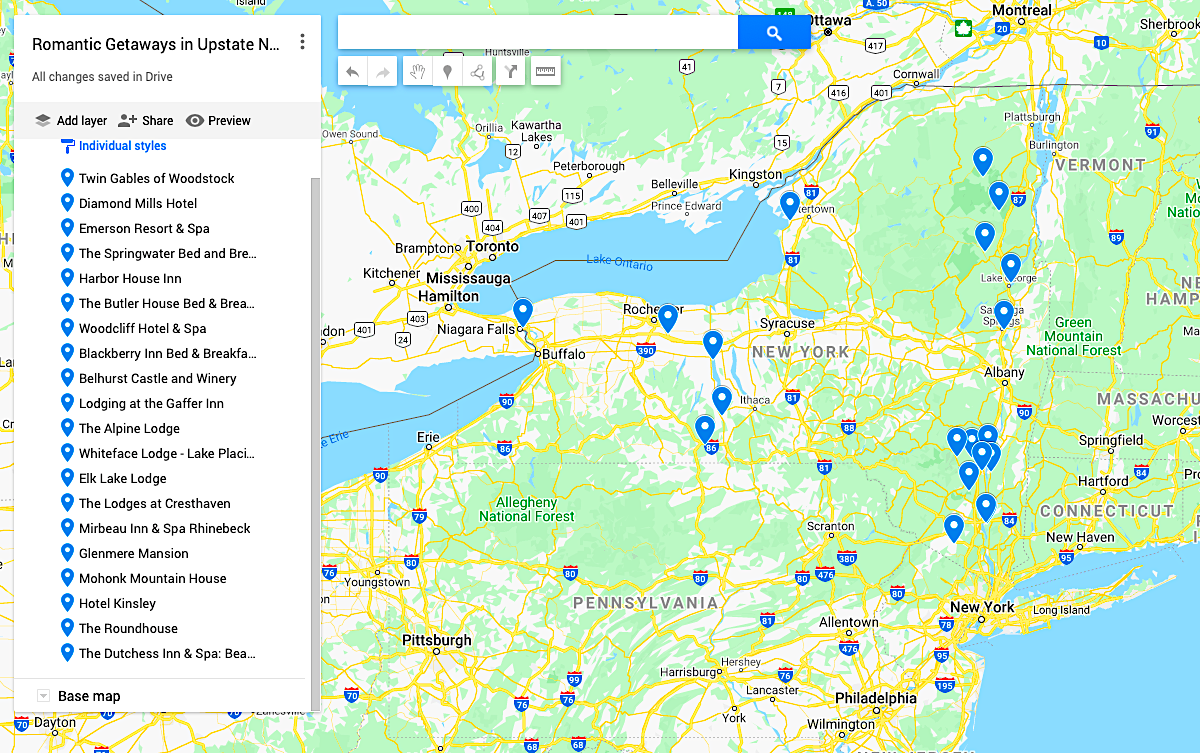 Map of the Best Romantic Getaways in Upstate New York.