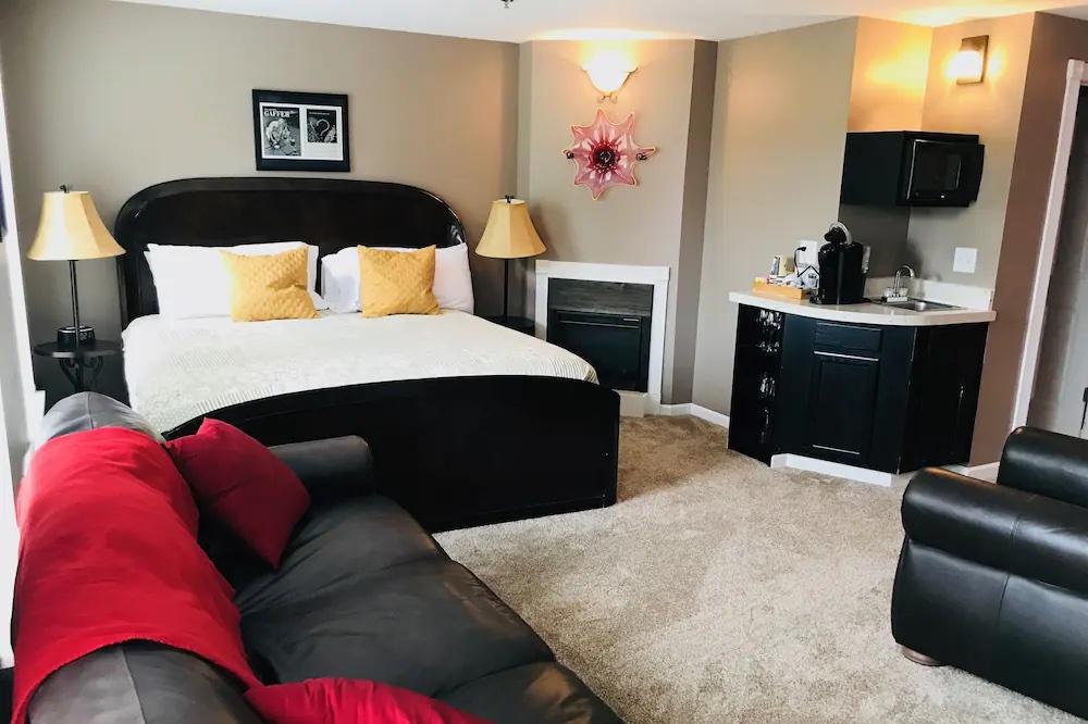 Modern, sleek room inside The Gaffer Inn in Corning, NY.