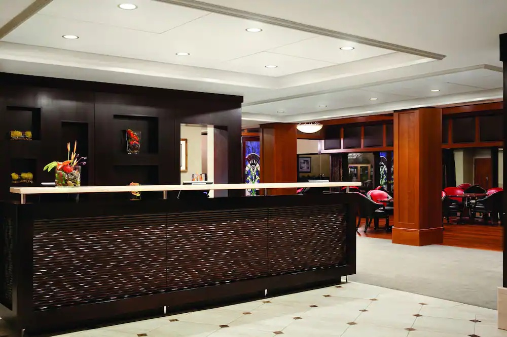 Refined lobby of the Woodcliff Hotel and Spa in Rochester, NY.